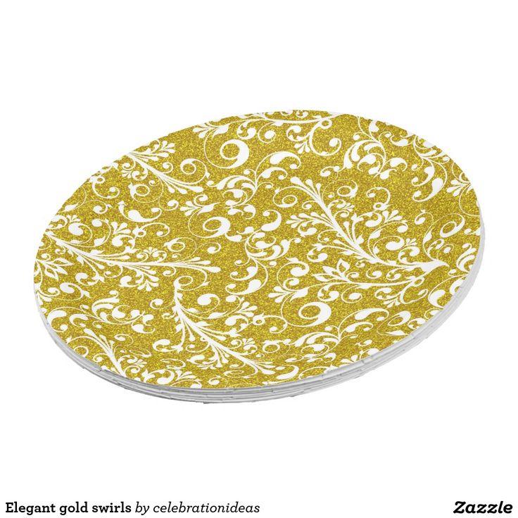 Elegant gold swirls paper plate. Christmas Paper PlatesSwirls  sc 1 st  Pinterest & 933 best Custom CHRISTMAS Paper Plates images by My Custom Party on ...