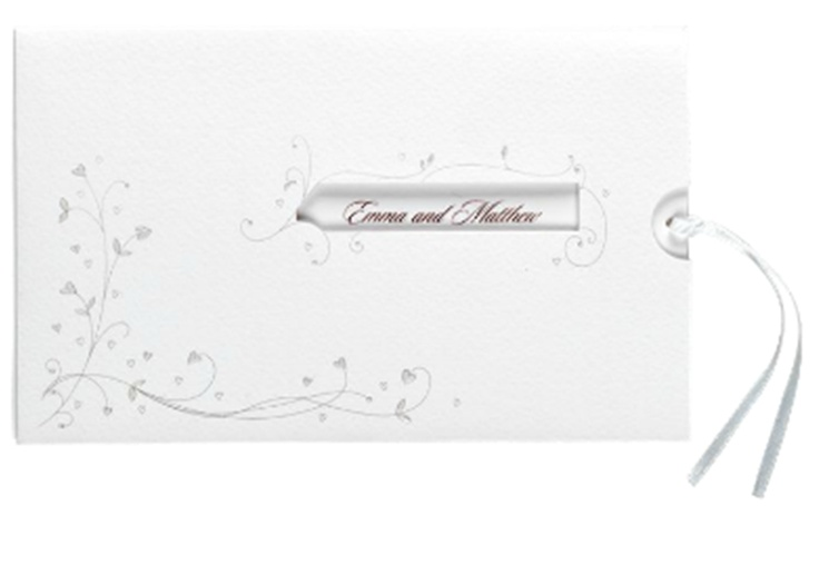Peek-a-boo card with satin ribbon  http://www.brideandgroomdirect.co.uk/product/entwined-heart-invitation-names#colour=60