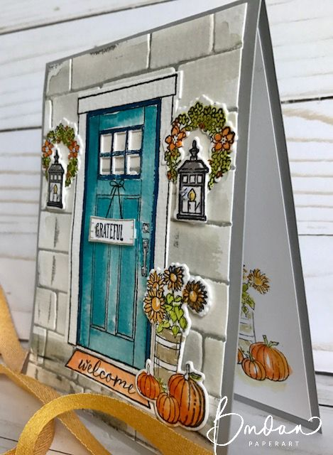 Doors with color are my favorite.  Personally my door is red, but today I have a card for you to send out in the fall with a blue door... A Pacific Poin