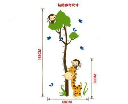 Cute Affe Baum Growth Chart Ma band Messlatte Wandtattoo Wandaufkleber Wandsticker Kinderzimmer Geschenk Bogen Gr