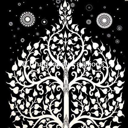 Bhagyoday - Arazzo indiano da parete, stile psichedelico/hippie/gipsy/bohemien, in cotone, decorazione per camera da letto, copriletto matrimoniale, 137 x 219 cm, soggetto: albero della vita ed elefante, colore: Bianco/Nero: Amazon.it: Casa e cucina