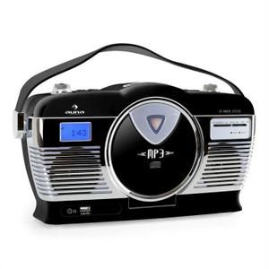 auna MCP-69 - Poste radio vintage avec lecteur CD et USB pour MP3 (poignée, utilisation sur piles possible, design rétro) - noir