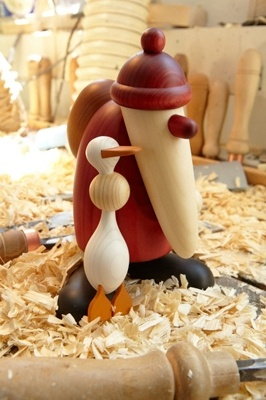 Björn Köhler wooden santa figure with goose.