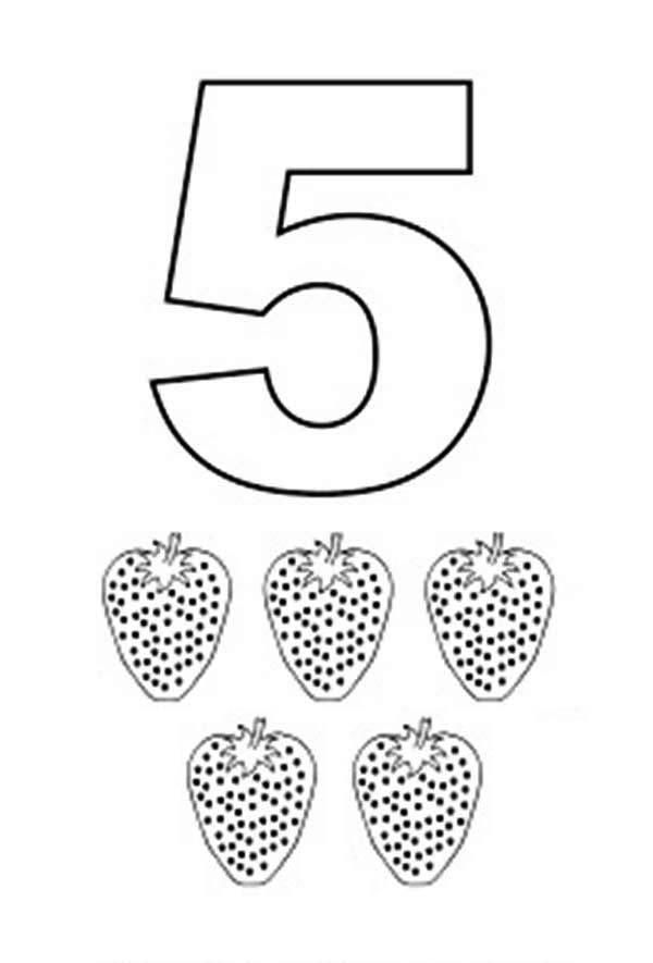 Learn Number 5 With Five Strawberries Coloring Page Coloring