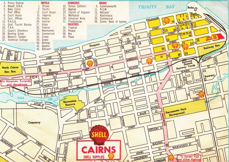 Shell road map of Cairns, NQ c1960's