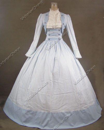 Victorian Civil War Stripes 3-pc Dress Ball Gown Reenactment Stage Costume 187 M
