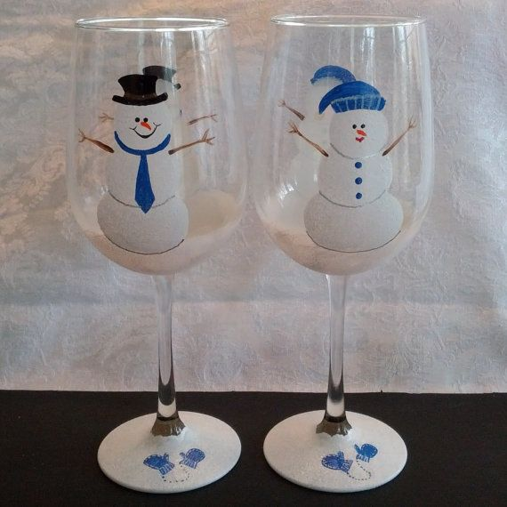 Blue Holiday Snowman hand painted wine glasses by GlassesbyJoAnne, $42.00