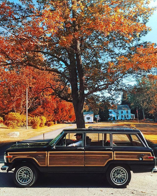 Fall fun. Foliage run. Sweater mode. Autumn road. Crisp air and a Wagoneer.