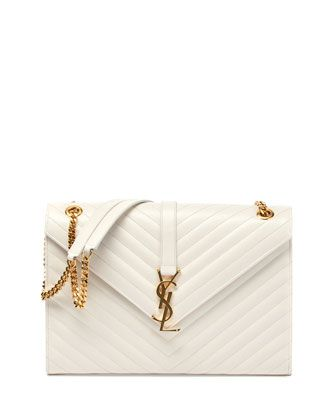 Monogramme Matellase Shoulder Bag, White by Saint Laurent at Neiman Marcus.