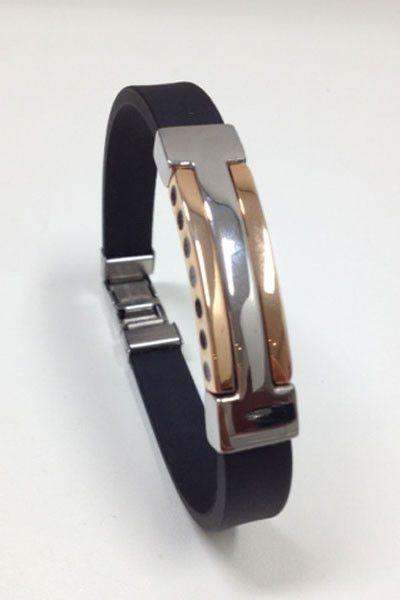 Heren As-armband zilver/rubber, uit de collectie See-You.