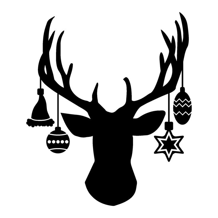 Deer head with hanging ornaments
