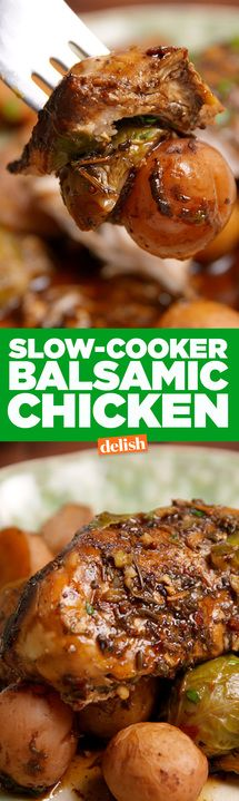 This Slow-Cooker Balsamic Chicken is the perfect dinner for two. Get the recipe from Delish.com.