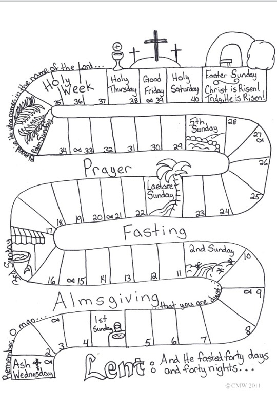 lent calendar I did this with my catechism class. The children posted this on their fridge.