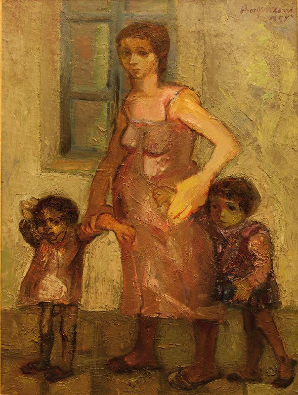 La maitre, Aldo Borgonzoni, 1957, Olio su tela, Musei Civici di Reggio Emilia