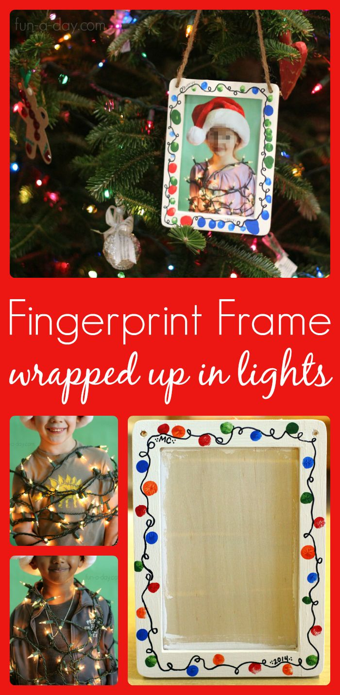 This Fingerprint Christmas Lights Photo Frame Makes