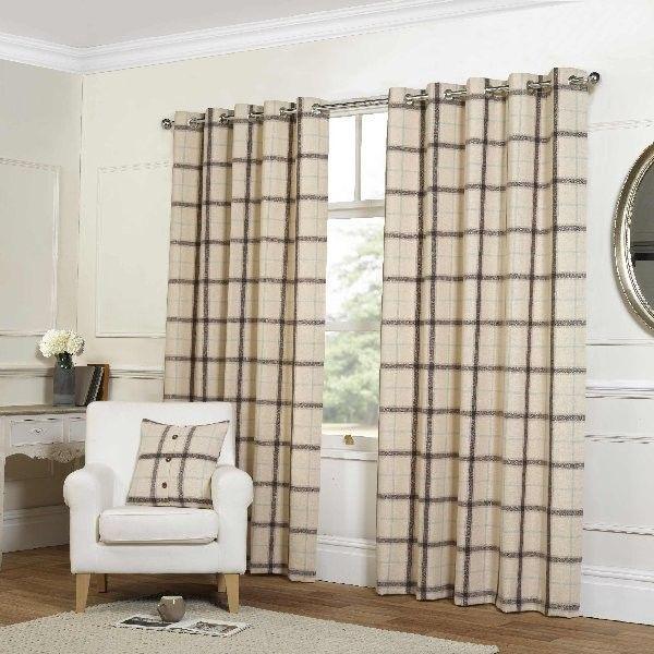 "Plaid Check Cream Eyelet Curtains - 66x90""/168x229cm"