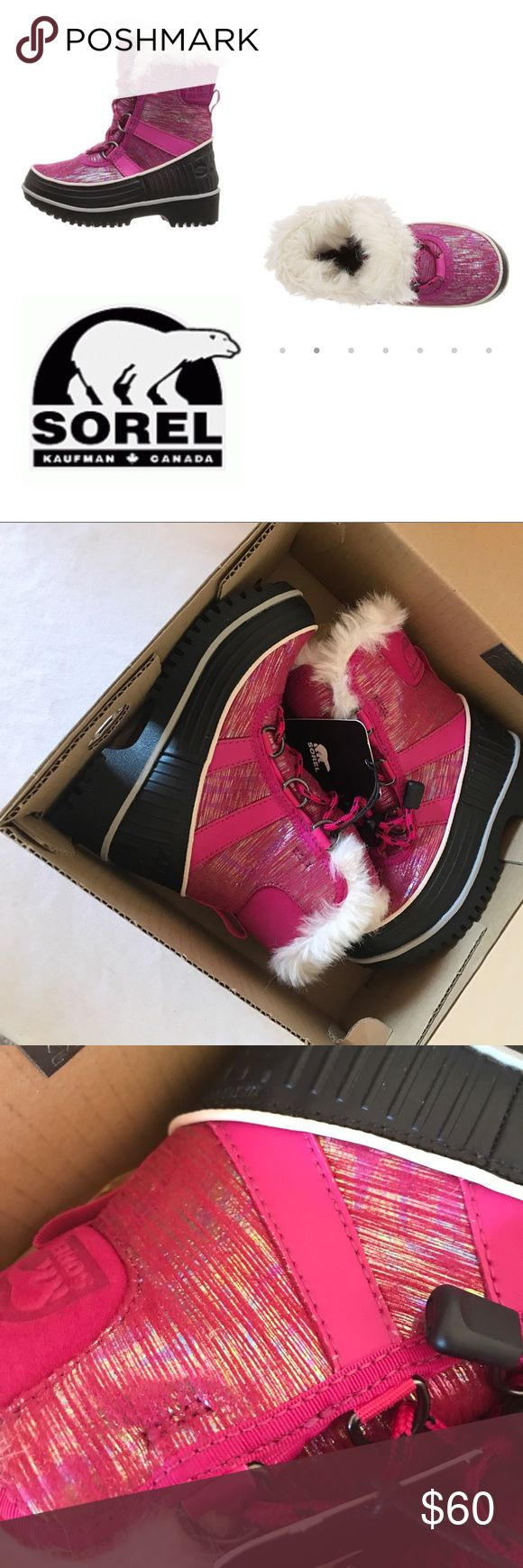 Sorel kids, tivoli 2, metallic haute pink, nib, 10 Grab these early to keep ur lil' ones tootsies warm. 🚫no trades. Size 10, nib, haute pink glitter. With bungee laces, a shiny metallic waterproof upper, and 100 grams of insulation with a soft fleece lining, the Child Tivoli II Metallic Boot is up for any cold weather adventure. Waterproof textile upper with PU-coated overlays Breathable membrane construction 100g insulation Removable molded EVA footbed with microfleece topcover Rubber…