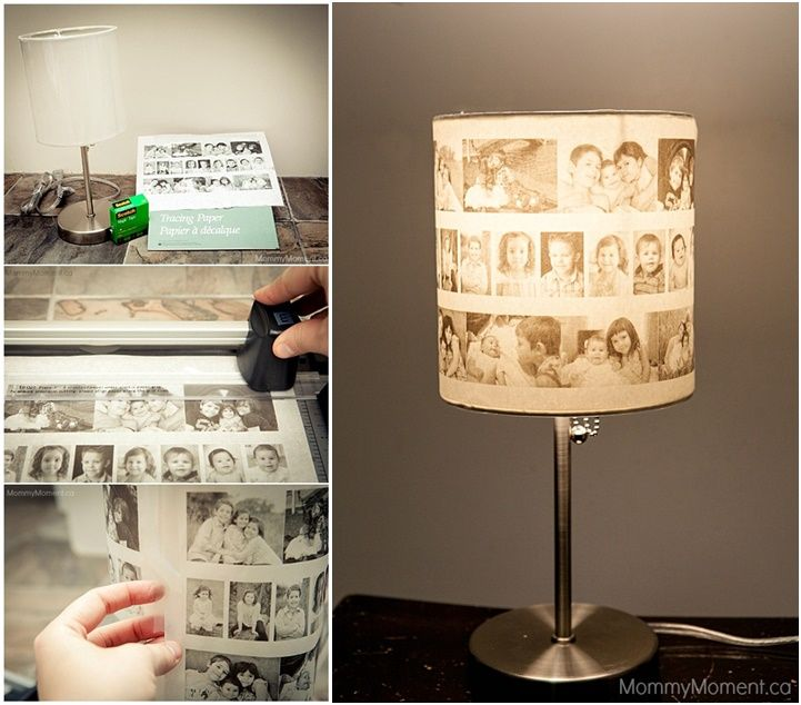 #DIY Family Photo Lampshade, sure to bring joy whenever the lamp is turned on. (y)  http://wonderfuldiy.com/wonderful-diy-lovely-family-photo-lampshade/