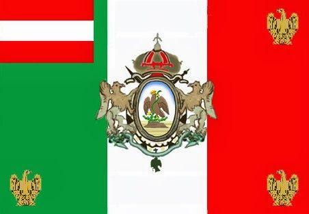 Bandera del Cuerpo Imperial de Voluntarios de Austria-Hungría (Legión Austro-Húngara). Cuerpo militar de apoyo al Imperio de Fernando Maximiliano en México.