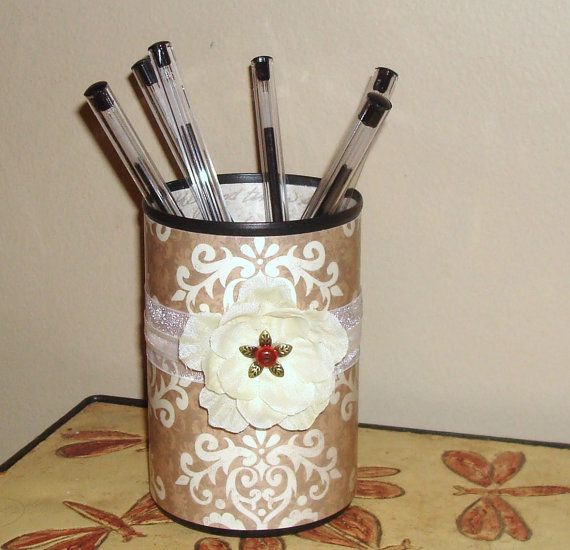 shabby chic office accessories. shabby chic pencil cup in brown and cream damask by makingtimetc 1400 office accessories