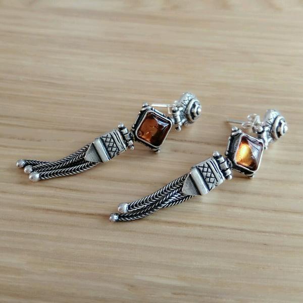 Heirloom Amber Silver Earrings