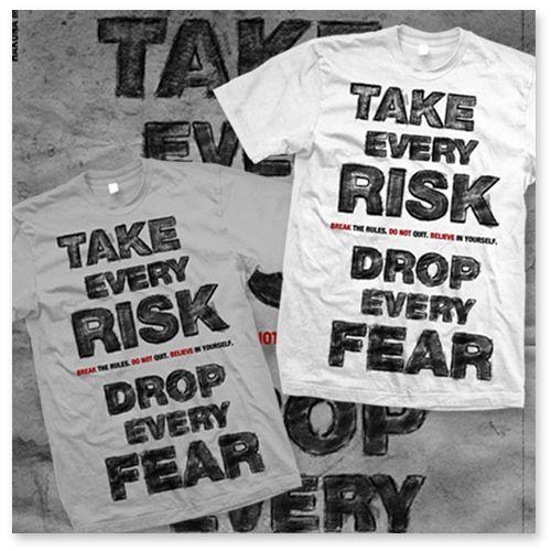 """T-shirt """"Take risk, drop every fear"""" – HAKUNA MATATA"""