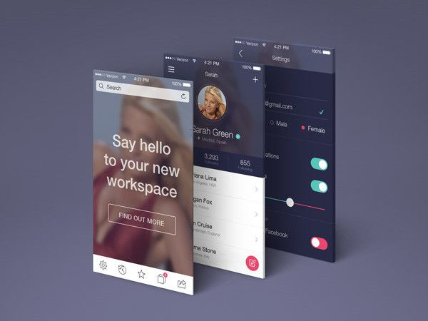 App Screens Perspective MockUp | GraphicBurger