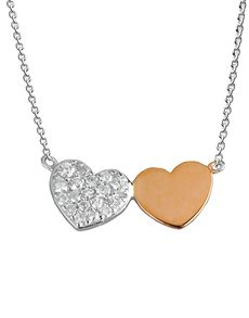 Necklaces - White Gold Diamond: 9Kt Rose And White Gold Double Heart Necklace!