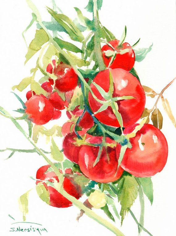 Tomates, peinture, aquarelle originale, peinture, 12 x 9 in, tomates raisins, art de la cuisine, rouge, vert