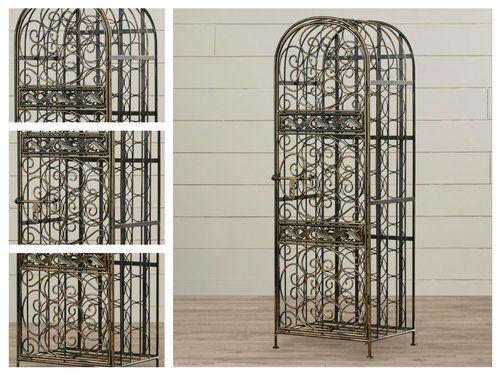 Wine-Storage-Cabinet-45-Bottle-Holder-Antique-Bronze-Rack-Industrial-Metal-Decor