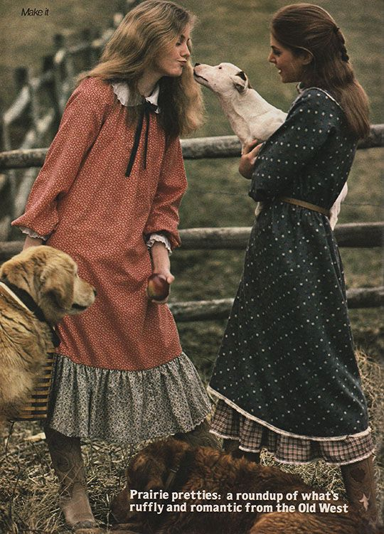 'A cherry-and-oatmeal calico peasant dress pulled over a round-collared and ruffle-cuffed blouse.' (1980) #Seventeen