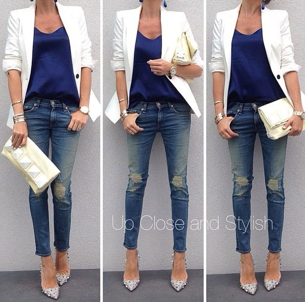 Probably one of the best ways to wear a blazer: rolled up sleeves, shirt tucked in, skinny jeans and pointed heels minus the studs. Clothes Casual Outift