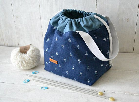 Knitting or Crochet drawstring project bag Canvas tote with pockets Work in progress bag Needlework storage Customisable pouch Knitters gift