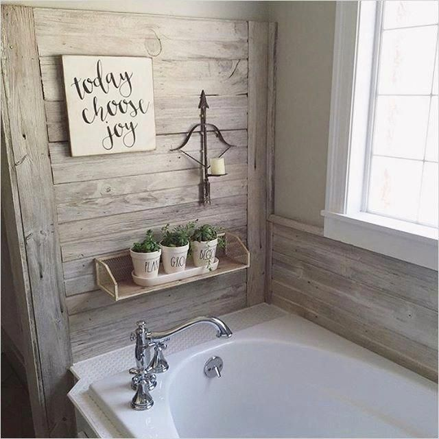 45 Amazing Ideas Farmhouse Bathroom Wall Art 87 Shiplap Wall In This Farmhouse Bathroom Farmhouse Style Pintere Bathrooms Remodel Bathroom Decor House Bathroom