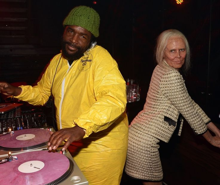 "Dressed in a ""Breaking Bad"" hazmat suit, Questlove of the Roots parties with a naughty grandma, aka Heidi Klum, during Klum's 14th annual Halloween party on Oct. 31 in New York"