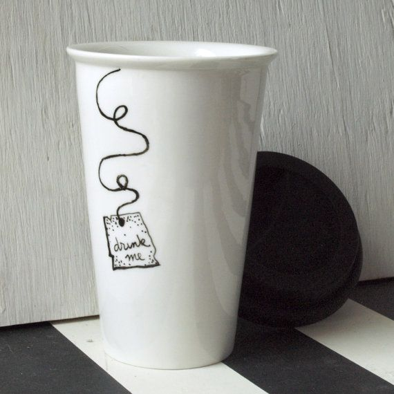 """Hand Painted Alice in Wonderland """"Drink Me"""" Porcelain Travel Mug with WHITE Silicone Lid Eco Friendly (( the original ))"""