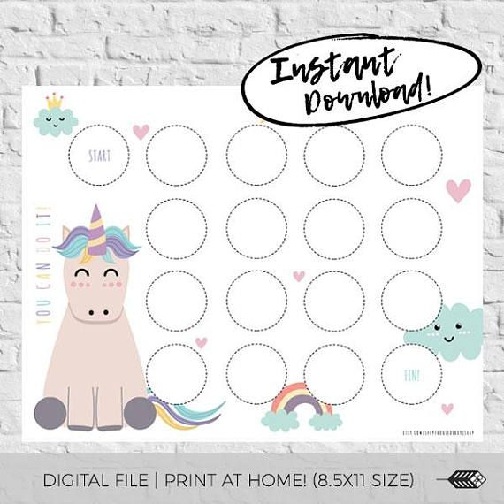 Reward Chart Printable Unicorn Incentive Chart Digital Download Kids Reward System Routine Potty Training Girls Kids Rewards Printable Reward Charts Reward Chart Kids
