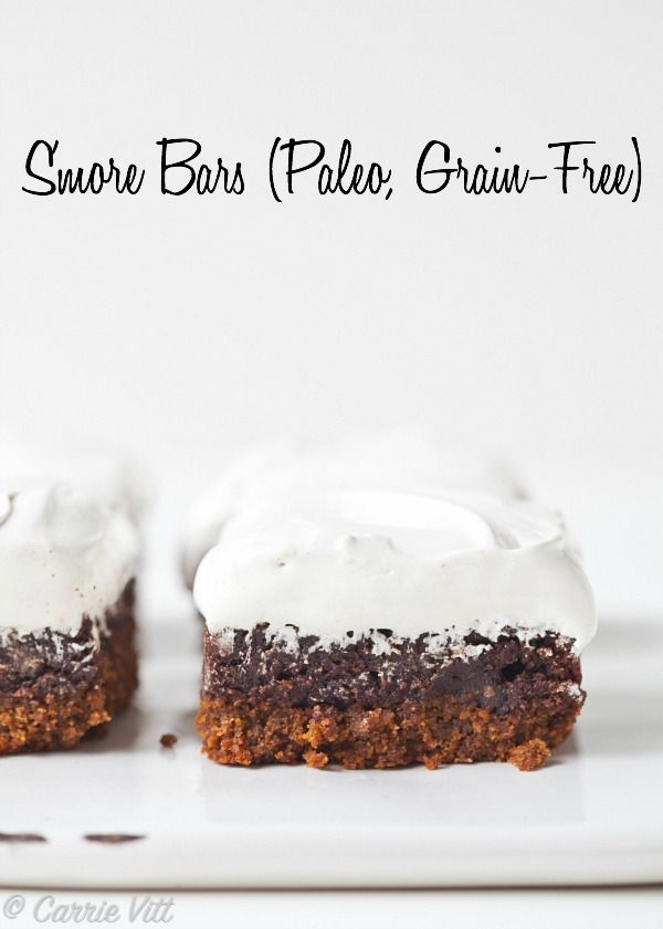 These s'more bars have a grain-free graham cracker cookie crust, fudgy chocolate brownie middle and a homemade marshmallow fluff topping.