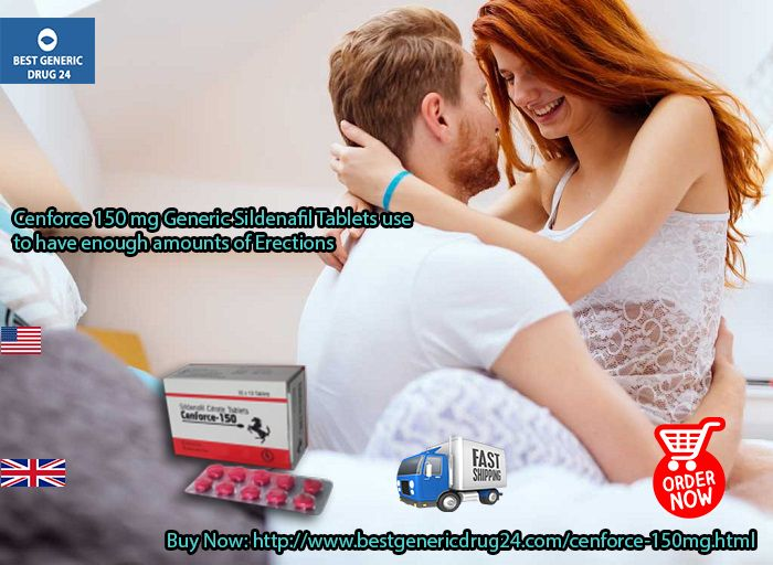 #Cenforce150mg #Generic_Sildenafil helps to bring forth an #erection within few minutes time during a session of #intimacy. #BuyCenforce150mg Sildenafil Online in #USA #UK at #BestGenericDrug24 website in #Canada #Australia #London #Ireland #Sydney #Spain #Europe #Brazil #Italy #France #Germany #Philippines #Mexico #Austria #Netherlands, only at $0.65 Prices. Visit at: http://www.bestgenericdrug24.com/cenforce-150mg.html