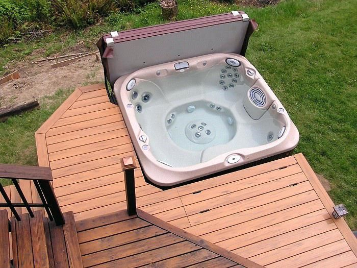 Pin By Robert Craft On Home Ideas Hot Tub Deck Hot Tub Surround