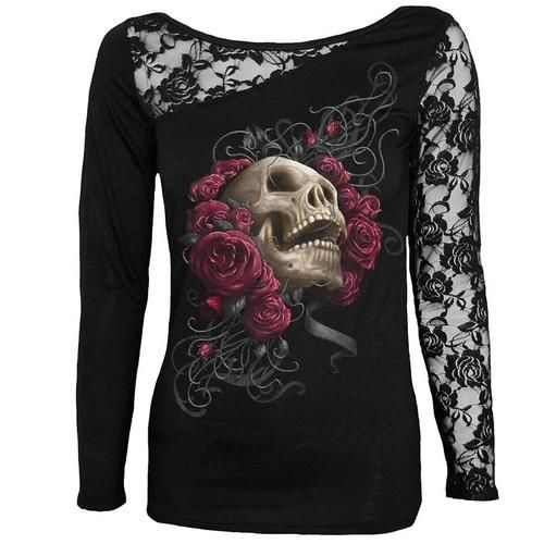Sexy Skull Print Tee Tops