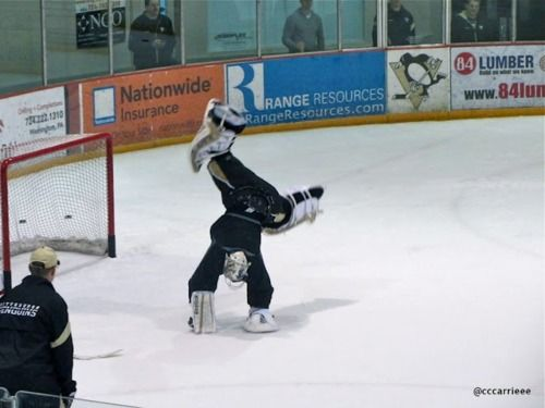 Marc-Andre Fleury literally doing cartwheels