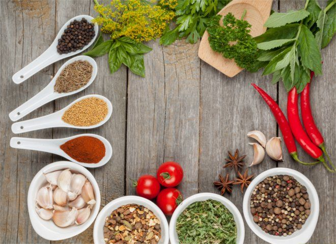 Lista ziół i przypraw, które można dodawać do potraw w oczyszczającej diecie warzywno-owocowej Ewy Dąbrowskiej.