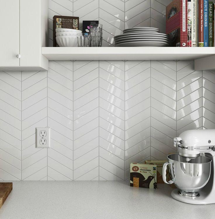 Chevron Ceramic – White 2″ x 9″ Ceramic Wall Tile $3.29 per square foot (Gloss Finish)