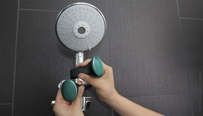 Quirky developed Helix: bluetooth speakers with a flexible inner core, that let the user wrap them like a bracelet. From the user's wrist to their shower head, Helix's flexible body helps it wrap around what they want, while its water resistant exterior keeps its inner electronics safe, as long as it's not submerged. The Quirky logo serves as an on/off tab, while the user controls it with their bluetooth device.