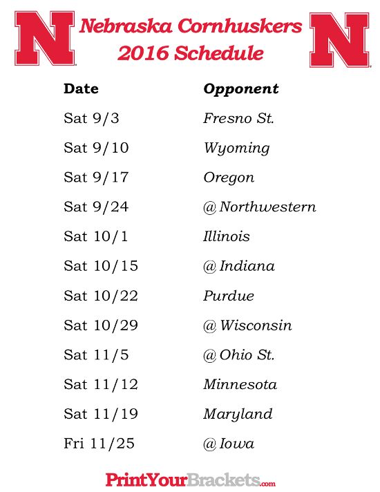 Printable Nebraska Cornhuskers Football Schedule 2016