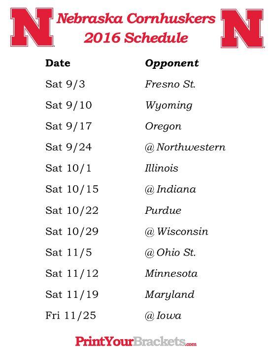 Printable Nebraska Cornhuskers Football Schedule 2016