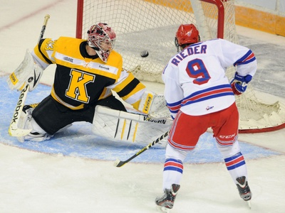 Kitchener Rangers forward Tobias Rieder opens the scoring getting the puck past former Ranger and Kingston Frontenacs goalie Mike Morrison in the first period at the Aud.
