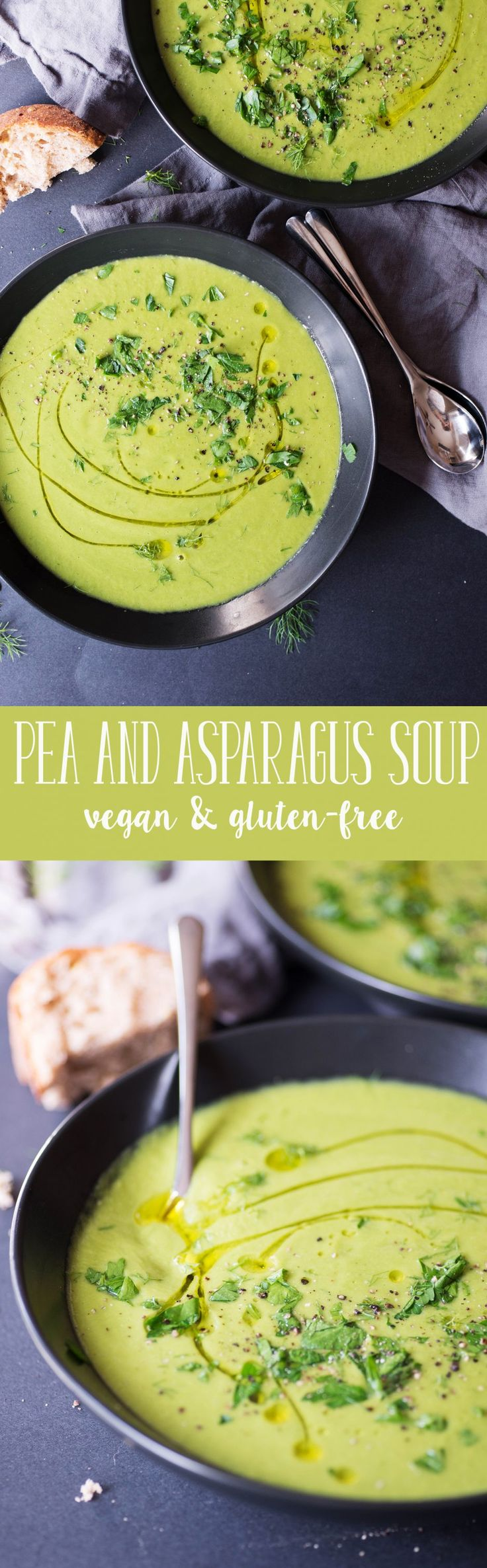 Pea and Asparagus Soup! This dairy-free, vegetable soup is perfect for Spring or Easter. Gluten-Free and Vegan. | www.delishknowledge.com
