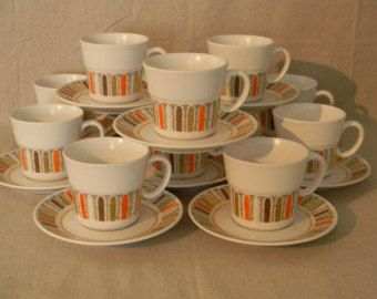 Vintage Noritake China Cups u0026 Saucers Mardi Gras Mid Century 11 sets Dinnerware Tableware Serving & 50 best vintage dinnerware images on Pinterest | Vintage dinnerware ...